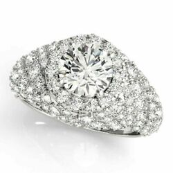 2.00 Ct Round Cut Real Diamond Engagement Rings 14k Fine White Gold Size 6.5 8