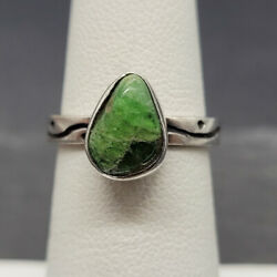 Vintage 925 Sterling Silver Ring With Green Quartz Size 5.25