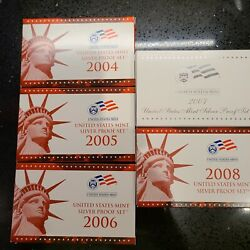 Us Mint Silver Proof Sets 2004-2008 With Coas