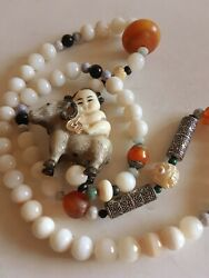 Chinese Solid Silver Child Girl Ram Netsuke Amber Agate Carved Necklace 28long