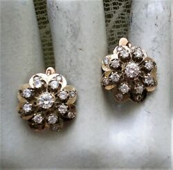 Vintage Russian 14k 583 Rose White Gold 2.85ct Created Diamond Cluster Earrings