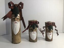 Midwest Of Cannon Falls Carved Wood Santa Christmas Candle Holders Set Of 3