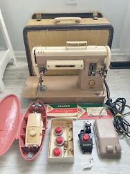 Vintage Singer Sewing Machine 301a W/ Case And Manuals,zig Zag And Extras Excellent