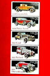 Antique Classic Car New And Unused Collectible Postage Stamp Lot 5 Stamps Packard