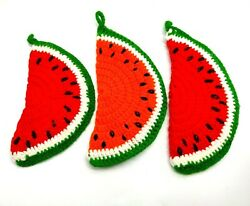 Vintage Nana's Handcrafted Crocheted Set Of 3 Watermelon Pot Holder Hot Pads