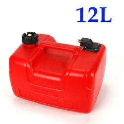 12l Anti-aging Outboard Gas Tank Protable Plastic Marine Fuel Tank W/ Connector