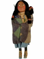 Antique Skookum Indian Doll- 10 Woman With Papoose Trade Beads- Native American