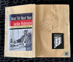 Jackie Robinson Signed Book Wait Till Next Year 1960 Aca And Jsa 2x Full Loaand039s