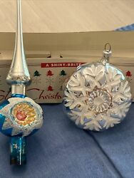 Vintage Shiny Brite Tree Topper - Original Box - 11 Inches Lot Of Two Germany
