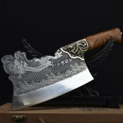 Handmade Forged Chinese Chef Knives Copper Dragon Decor Sharp Chopper Kitchen