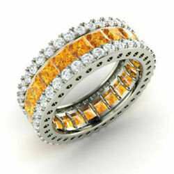 5.56 Ct Genuine Real Diamond Citrine Band 14k Solid White Gold Ring Size L M N J