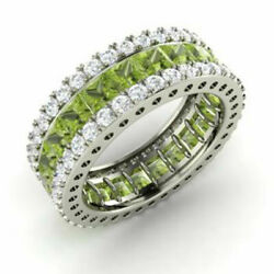5.56 Ct Genuine Real Diamond Peridot Band 14k Solid White Gold Ring Size L M N G