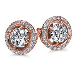 Real Halo Diamond Stud Earrings Rose Gold 1.26 Carat Si2 G Cttw Ct 30553299
