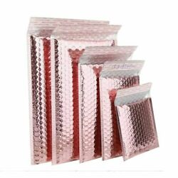 50pcs Rose Gold Bubble Mailers Bags Gift Packaging Courier Aluminized Envelopes