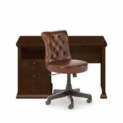 Yorktown 50w Home Office Desk And Chair Set In Antique Cherry - Engineered Wood