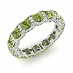 3.88 Ct Certified Natural Diamond Peridot Gemstone 14k Solid White Gold Bands .