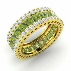 5.56 Ct Genuine Real Diamond Peridot Band 14k Solid Yellow Gold Ring Size O M N