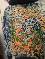 Nwt Christian Audigier Ed Hardy Hoodie All Over Print Blue Fur Lined Lg Tiger
