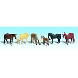 Woodland Scenics A2141 N-scale Farm Horses 5 Adult And 1 Young Horse, Farm Stock