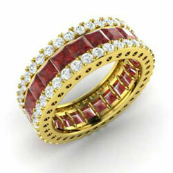 5.56 Ct Genuine Real Diamond Garnet Band 14k Solid Yellow Gold Ring Size L M N K