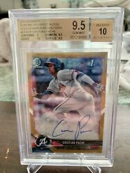 2018 Bowman Chrome Christian Pache Gold Shimmer Rookie Auto /50 Bgs 9.5/10braves