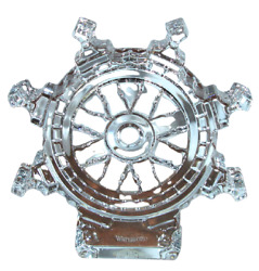 Waterford Crystal Ship's Wheel Paperweight Made In Ireland New With Box