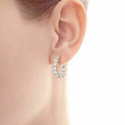 0.60 Ct Natural Diamond Hoop Earring 14k Solid White Gold Beautiful Womenand039s Stud