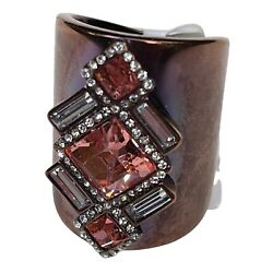 Tusk Women#x27;s Ring Cigar Band Stainless Steel Crystal Peach and clear SZ 7 $65.00