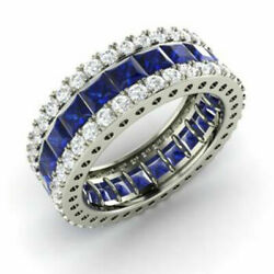 5.56 Ct Genuine Real Diamond Sapphire Band 14k Solid White Gold Ring Size L M N