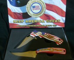 President Trump Pocket Knife Spring Assisted Opening And Fixed Blade Set