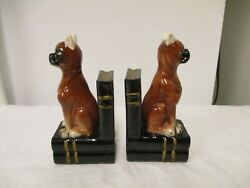Lot 2 Boxer Dog 6quot; Porcelain Figurine Bookends Sitting on Pile of Books