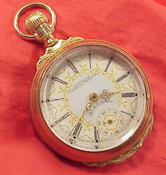 Waltham Rare Colored Dial 1883 Special Railroad King 18s 17j Pocket Watch Runs