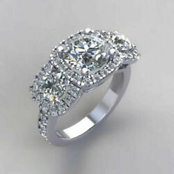 Real Diamond 950 Platinum Womenand039s Engagement Ring Round Cut 1.50 Ct Size 5 6 7 8
