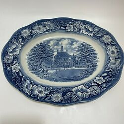 Staffordshire Liberty Blue Governor's House Williamsburg 12 Platter Mint