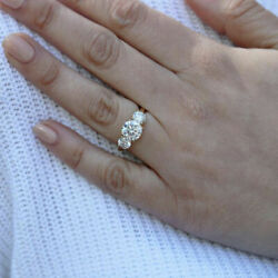 1.00 Carat Round Cut Real Diamond Bridal Ring 14k Solid Yellow Gold Size 5 6 7 8