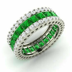 5.56 Ct Genuine Real Diamond Emerald Band 14k Solid White Gold Ring Size L M N K