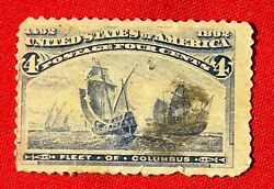 1892 Postage Stamp 4 Cents Fleet Of Columbus Rare Unused Old Collectible Stamps
