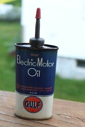 Early Vintage 4 Oz Gulf Electric Motor Oil Oiler Tin Can Gas And Oil Advertising