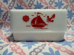 Vintage Mckee Red Sail Boat Butter Dish / Lid In Very Good / Excellent Condition