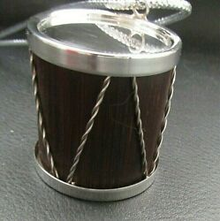 Vintage Sterling Silver + Wood Drum Christmas Ornament + Pouch + Box