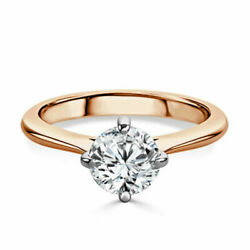 0.50 Ct Superbe Coupe Ronde Real Diamond Engagement Ring 14k Or Rose Taille M L-