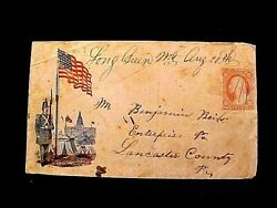 Civil War Patriotic Cover W/flag Soldier Capital Tents Postally Used To Penn.