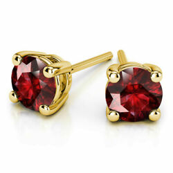 4.00 Ct Real Ruby Solitaire Earrings 14k Solid Yellow Gold Womenand039s Studs