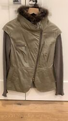 Brunello Cucinelli Womenand039s Leather And Fur Sweater Vest Grey Size 42