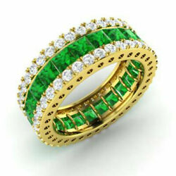 5.56 Ct Genuine Real Diamond Emerald Band 14k Solid Yellow Gold Ring Size L M O