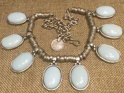 Costume Jewelry Necklace With Powder Blue Sets Designer Coin Attached