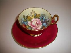 Aynsley Bone China Teacup And Saucer Cranberry Cabbage Rose Signed J A Bailey