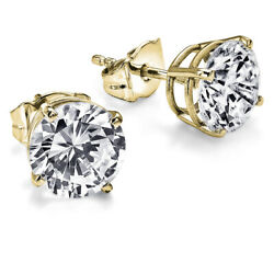 1.48 Ct 14k Yellow Gold Diamond Earrings Solitaire Friction Back J I2 28852613