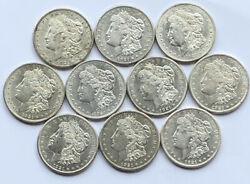 Lot Of 10 Morgan Silver Dollars Au+ Bu Half Roll Set Of Coins All Dated 1921 S D
