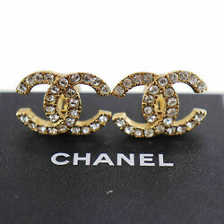 Cc Logos Rhinestone Used Earrings 02 A Gold Clip-on Vintage Auth Zz951 S